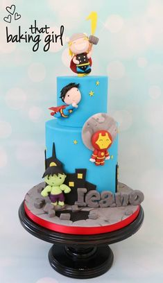 Cute Kawaii Marvel Avengers and Superman Cake made by That Baking Girl Superman Birthday Party, Iron Man Birthday, 4th Birthday Cakes, Avengers Birthday, Marvel Cake, Superman Cakes, Marvel Avengers, Avenger Cake, Bolo Cake