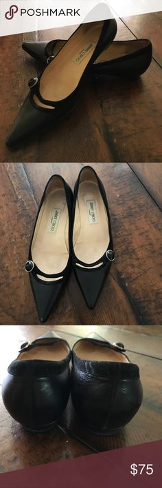 Jimmy Choo flats.  Super cute, pointy toe.  Size 7 Rare Jimmy Choo flats.  Pointy toe.  Size 7 (37).  Black.  Gently worn and cared for.  Too small now.  Right toe has scuff mark.  Shoe shine should take care of that.  Scuff reflected in price. Authentic.  Comes with bag. Jimmy Choo Shoes Flats & Loafers