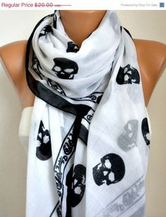 ON SALE Skull Scarf  Cotton Scarf Shawl Bridesmaid by fatwoman, $16.00