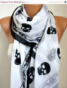 Skull Scarf Cotton Scarf Shawl Bridesmaid by fatwoman