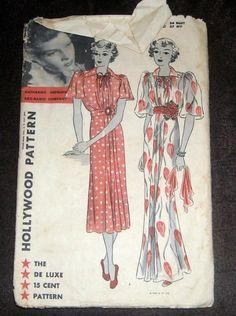 Vintage 1930's Hollywood #1159 Katharine Hepburn Dress Sewing Pattern