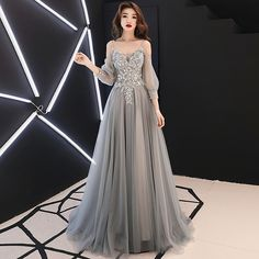 May 2020 - Gray lace tulle long prom dress, long sleeve evening dress · Little Cute · Online Store Powered by Storenvy Elegant Dresses, Pretty Dresses, Beautiful Dresses, Formal Dresses, A Line Prom Dresses, Homecoming Dresses, Prom Dresses Long With Sleeves, Dress Long, Fantasy Dress