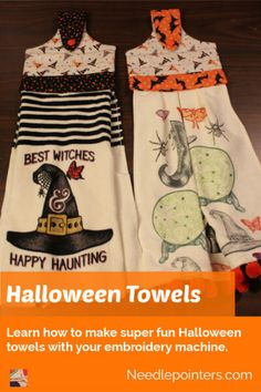 Make some fun machine embroidered Halloween towels. These make great gifts or holiday towels. Two towels can be made from one purchased towel which makes it a great value! Diy Kitchen Projects, Fun Projects, Sewing Projects, Halloween Kitchen, Embroidered Towels, Machine Embroidery Projects, Hanging Towels, Types Of Craft, Embroidery For Beginners