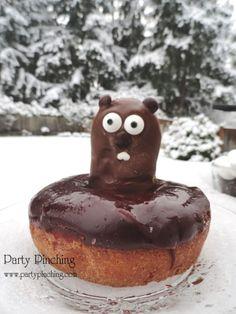 cute food, groundhogs day dessert, groundhogs day donut, groundhog day breakfast