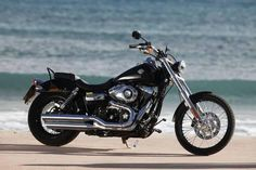 Photographic Print: Motorcycle Cruiser Harley Davidson Wide Glide Black Sea in the Background Side Standard Right by Fact : Classic Harley Davidson, Harley Davidson Chopper, Harley Davidson Street Glide, Harley Davidson Motorcycles, Triumph Motorcycles, Custom Motorcycles, Custom Bikes, Custom Motorcycle Helmets, Motorcycle Garage
