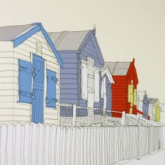 Westward Ho Beach Huts - Gillian Bates by gillian. Freehand Machine Embroidery, Seascape Art, Thread Painting, Nautical Art, House Drawing, Art For Art Sake, Textile Artists, Beach Art, Urban Art