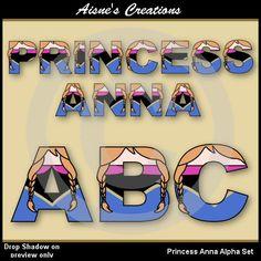 Princess Anna Frozen Alphabet Clipart Set por AisnesCreations