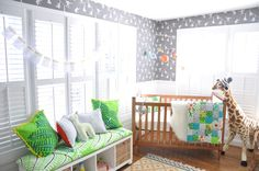 Modern Safari Gender Neutral Nursery - how fun is that monkey wallpaper?!