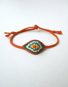Mens evil eye Cotton evil eye Yarn bracelet Embroidery