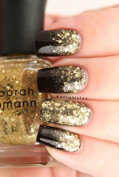 Gold glitter gradient nails new years eve nails, nails, gold New Year's Nails, Fun Nails, Glitter Gradient Nails, Gold Gradient, Gold Gel Nails, Black Gold Nails, Sparkle Nails, Dark Nails With Glitter, Gold Glitter Nail Polish