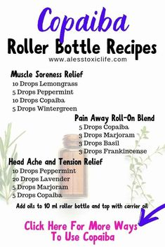 doterra roller bottle recipes Copaiba Essential Oil Benefits And Recipes - Do you need new cabinet h Copaiba Essential Oil, Essential Oils For Pain, Essential Oil Diffuser Blends, Essential Oil Mixtures, Roller Bottle Recipes, Savon Soap, Salud Natural, Oil Benefits, Health Benefits