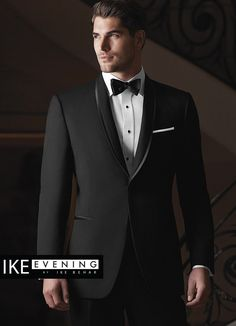 The Black 'Waverly' Tuxedo by Ike Behar is one of the most elegant formal options we have to offer. Similar to the Black 'Braydon' Tuxedo by Ike Behar, it features a one button single-breasted front,