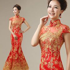 Lady Long Evening Prom Party Dress Mermaid Wedding Gown Chinese Cheongsam 118