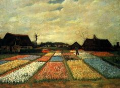 Vincent Van Gogh >> Flower Beds in Holland [1883]  |  (Oil, artwork, reproduction, copy, painting).