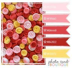 cotton candy pink, red and yellow color palette.