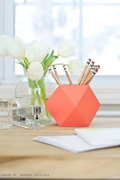 DIY Geometric Pencil Cup   Sarah M. Dorsey Designs + Dream Green DIY