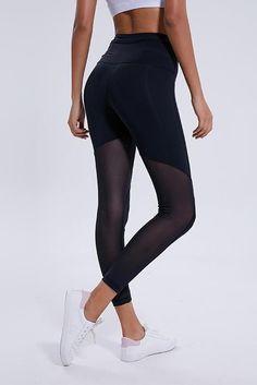 7da28204ac7f2 Dhanurasana Black Mesh yoga pants