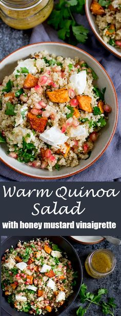 Need a comforting, warm lunch - packed full of healthy goodness too? Try this vegetarian Warm Quinoa And Goat's Cheese Salad With Honey Mustard Vinaigrette!