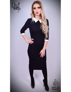 Rochie neagra office cu guler alb High Neck Dress, Dresses For Work, Black, Fashion, Turtleneck Dress, Moda, Black People, Fashion Styles, All Black