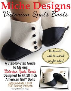 "VICTORIAN SPATS BOOTS 18"" DOLL SHOES"