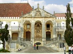 Main entrance to the University of Coimbra, Portugal. Founded in Lisbon in 1292, the school was Portugal's only university until 1559.