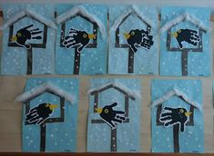 Birdhouse with handprint - .- Birdhouse with handprint – # Thanksgiving Kindergarten Handicrafts CalendarKindergarten Handicrafts # Handprint - Winter Crafts For Kids, Winter Kids, Winter Art, Art For Kids, Kindergarten Crafts, Classroom Crafts, Preschool Crafts, Handprint Art, Winter Trees