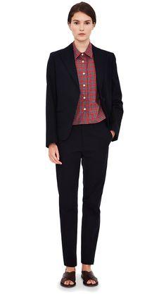 Navy linen/cotton suit, red tartan cotton short sleeve shirt, dark brown leather slide