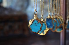 PETITE AQUA>>>    ~Natural Redskin American Turquoise electroformed in 24kt Gold  ~18 inch 14kt Gold Fill chain with 1 inch extender  ~one of a kind