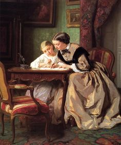 The Athenaeum - The Lesson (Jules Trayer - ) Victorian Paintings, Vintage Paintings, Medieval Paintings, Victorian Art, Vintage Prints, Munier, Wow Art, Lectures, Mother And Child