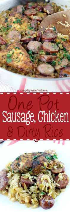 This One Pot Sausage, Chicken & Dirty Rice is loaded with spicy flavors, and lot's of goodness! It's cooked in one pot and perfect for any night of the week. Entree Recipes, Rice Recipes, Easy Dinner Recipes, Chicken Recipes, Delicious Recipes, Dinner Ideas, Dinner Menu, Amazing Recipes, Turkey Recipes