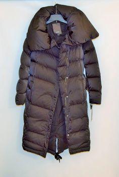 NWT $425 Vera Wang Black Down Coat filling Womens Winter Long Zipper Coat Size L #VeraWang #Puffer