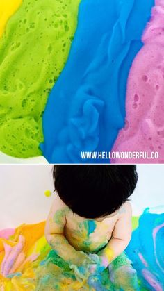 This rainbow soap foam sensory play is so a fun baby or toddler messy play activity! This rainbow soap foam sensory play is so a fun baby or toddler messy play activity! Baby Sensory Play, Sensory Activities Toddlers, Montessori Activities, Baby Play, Infant Activities, Fun Baby, Montessori Toddler, Toddler Messy Play, Baby Messy Play Ideas