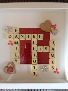 Scrabble word art family tree box frame by Andreasecrtfairydoor