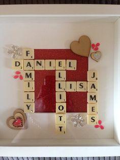 Scrabble word art family tree box frame by Andreasecrtfairydoor