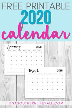 2020 monthly free printable wall or desk calendar. Available with Sunday or Monday start to help you get organized and keep track of important dates. Monthly Planner Printable, Printable Calendar Template, Free Printable Calendar, Kids Calendar, 2021 Calendar, Weekly Planner, Free Printables, Calendar Ideas, Planning Calendar