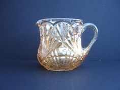 1920s Art Deco Glass Marigold Glass Carnival Glass Vintage Glass Jug Vintage Water Pitcher by FillyGumbo