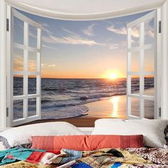 This kind of tapestry looks totally terrific, will have to keep this in mind next time I've a little bucks saved up. Tapestry Beach, Tapestry Bedroom, Wall Tapestry, Ocean Wallpaper, Wall Wallpaper, Wall Scenery, Wal Art, Cheap Wall Tapestries, Sunset Sea