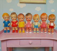 Vintage Toys 1960s, Retro Toys, Vintage Dolls, Vintage Nursery Decor, Kewpie Doll, Rubber Doll, Alphabet Cards, Old Dolls, Vinyl Toys