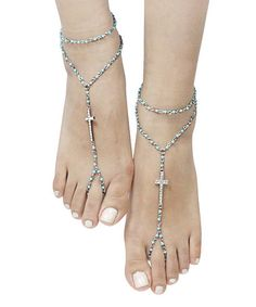 Another great find on #zulily! Turquoise & Silvertone Beaded Cross Barefoot Sandal #zulilyfinds