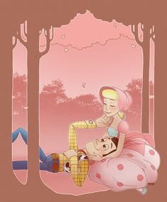 Toy Story art. Woody and Bo Peep, by *lily-fox