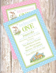 Guess how much I love you Inspired Printed Invitation with Envelopes- birthday Hare Baby Shower Anita Jeram, 1st Birthday Decorations, Table Tents, Boy Birthday Invitations, Cupcake Picks, Wine Label, Blue Polka Dots, Bottle Labels, Hang Tags