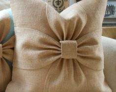 This Burlap bow pillow cover in natural burlap is just one of the custom, handmade pieces you'll find in our decorative pillows shops.Burlap bow pillow cover in grey and off white от LowCountryHomeItems similar to Puffy bow pillow cover on EtsyThis Bow Pillows, Burlap Pillows, Sewing Pillows, Burlap Bows, Decorative Pillows, Chevron Burlap, Burlap Curtains, Burlap Projects, Burlap Crafts