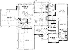 Southern House Plan First Floor 055D-0970  from houseplansandmore.com 4 bedroom, 3.5 bath. lots of basement storage. Could convert some of the garage space into an office and the dining room into a music room