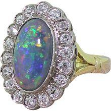 Art Deco Black Opal & 1.50 Carat Old Mine Cut Diamond Cluster Ring, circa 1925