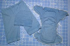 Turn a women's long sleeved knit shirt into a newborn fitted diaper, newborn hat, and 0-3M pants! Sew simple :)