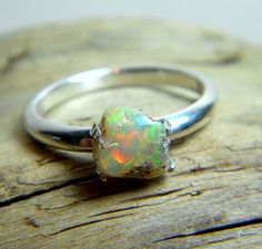 Opal Gemstone Ring, Sterling Silver Ring, Raw Opal, Rough Opal, Welo Opal, Opal Ring, Birthstone Jewelry, Chakra Jewelry on Etsy, $92.69