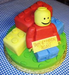 What Lego loving kid wouldn't like this?  It is complete with a fondant covered rice krispy treat Lego man!