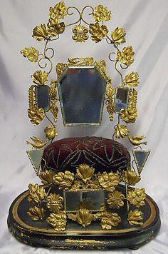 RARE! ~ French Antique Crown Jewel Stand ~ Brass, Mirror Plush Cushion Royal Crowns, Tiaras And Crowns, Vanity Set, Dresser Vanity, Dresser Sets, Vintage Buttons, Vintage Items, Antique Jewelry, Antique Vases