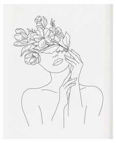 Flower Outline, Outline Art, Outline Drawings, Art Drawings Sketches, Face Outline, Eye Drawings, Art Illustrations, Line Drawing Tattoos, Face Line Drawing