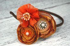 Orange Rust Brown Flower Headband Trio with by LittleBirdsBoutique.